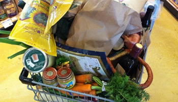 Photo: Shopping Cart Filled with Food