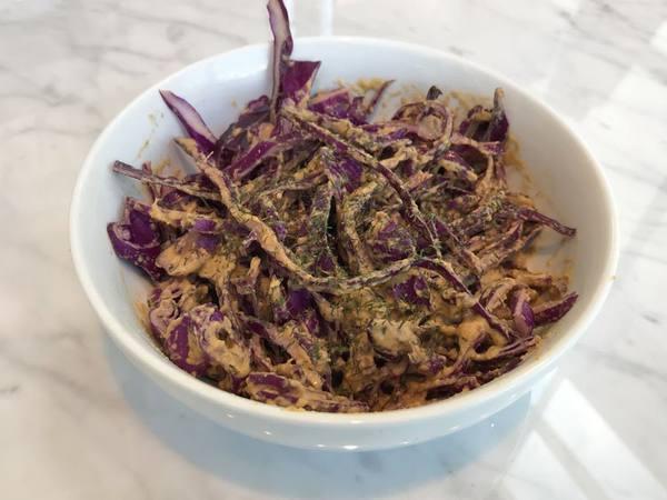 """Photo: Broccoli Artichoke Cream Sauce w/ Red Cabbage """"Noodles"""""""