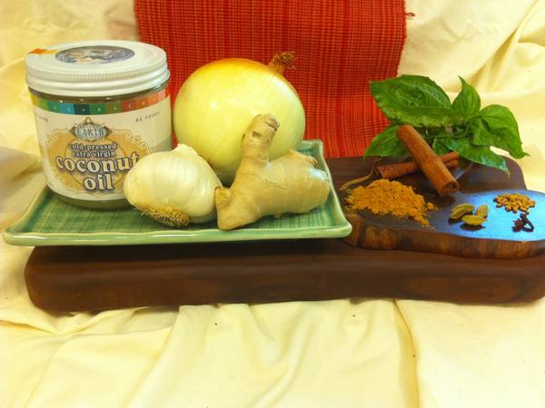 Photo: Coconut Oil, Ginger, Garlic, and Onion