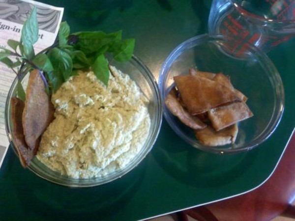 Photo: Macadamia Nut Hummus with Crispy Pitas